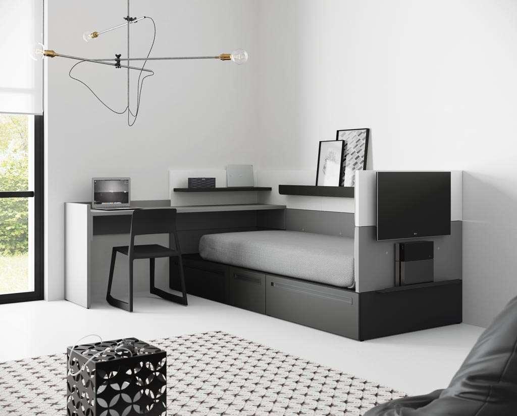 Dormitorio juvenil en tonos blanco, negro y gris
