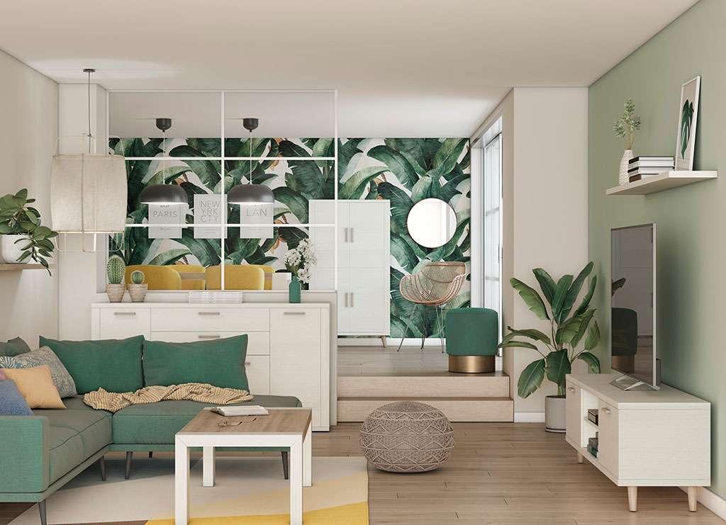 Salón amueblado con mobiliario de la firma Ramis en madera tonos verdes