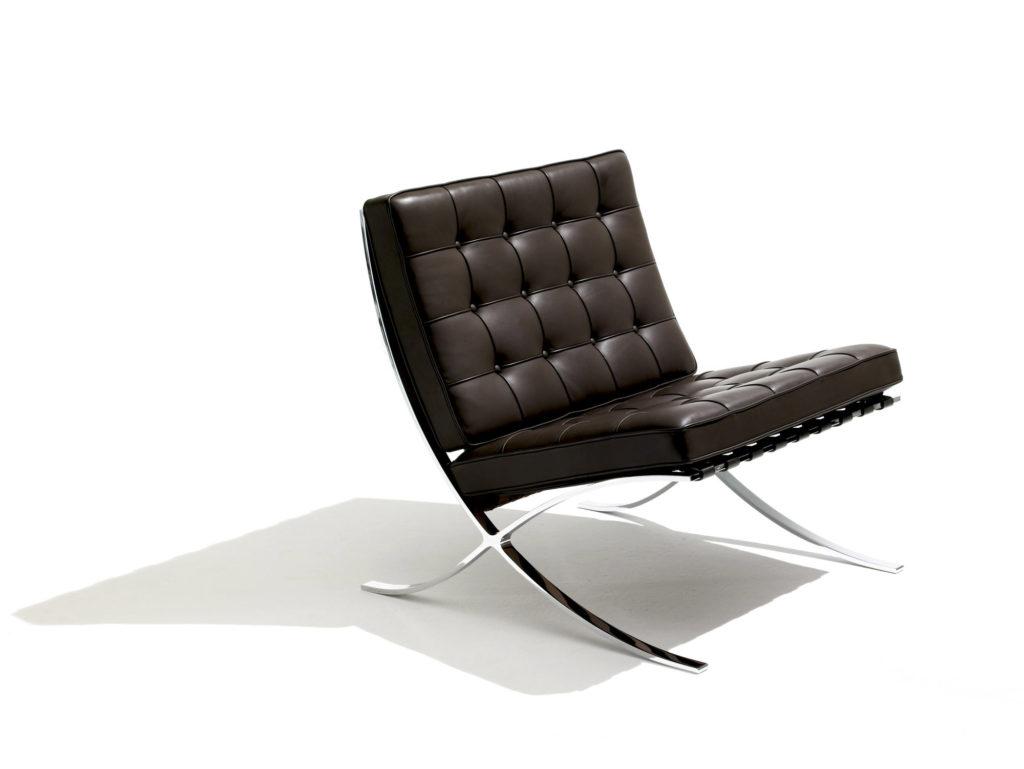Ejemplo de sillas de diseño. Silla Barcelona. Mies van der Rohe, Lilly Reich, 1929.
