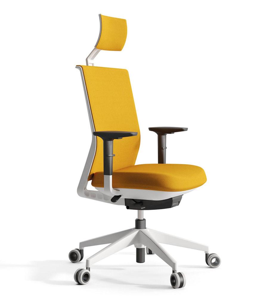 silla de trabajo amarilla de Actiu