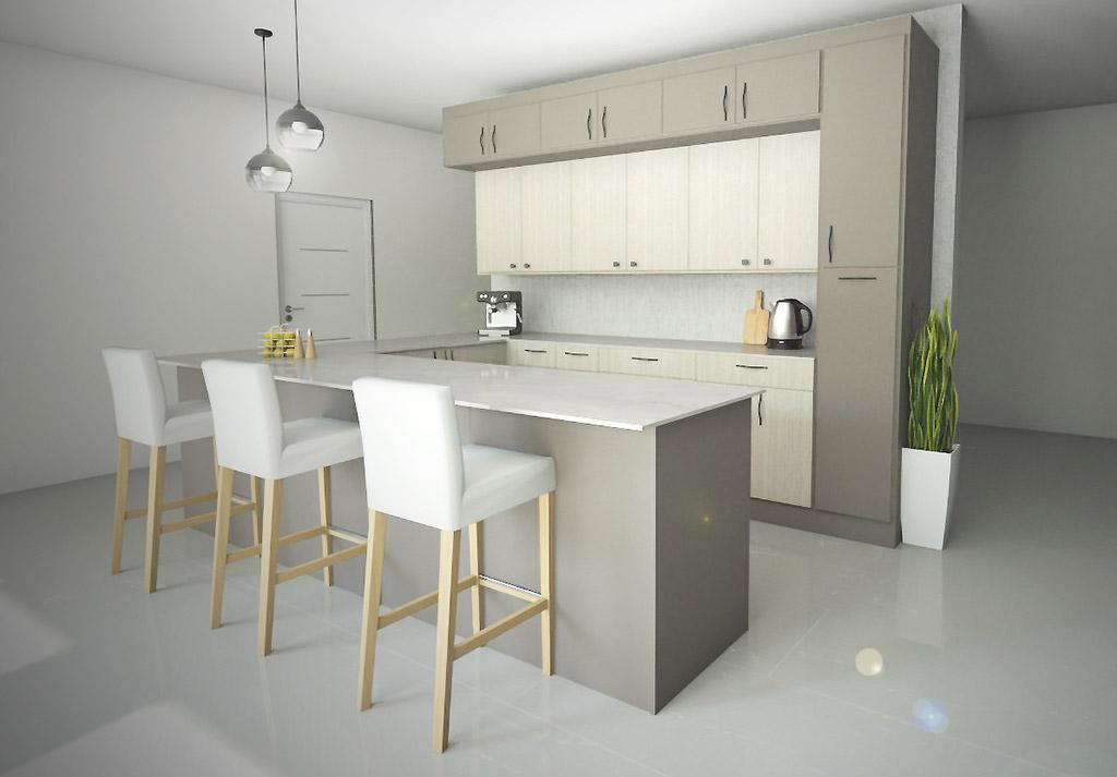 render de decoracion virtual de una cocina