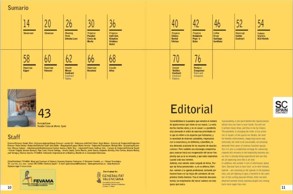 páginas de sumario de revista spaincontract